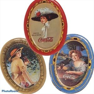 COCA COLA reproduction trays trio
